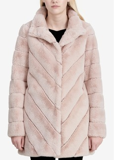 Calvin Klein Chevron-Quilted Faux-Fur Coat