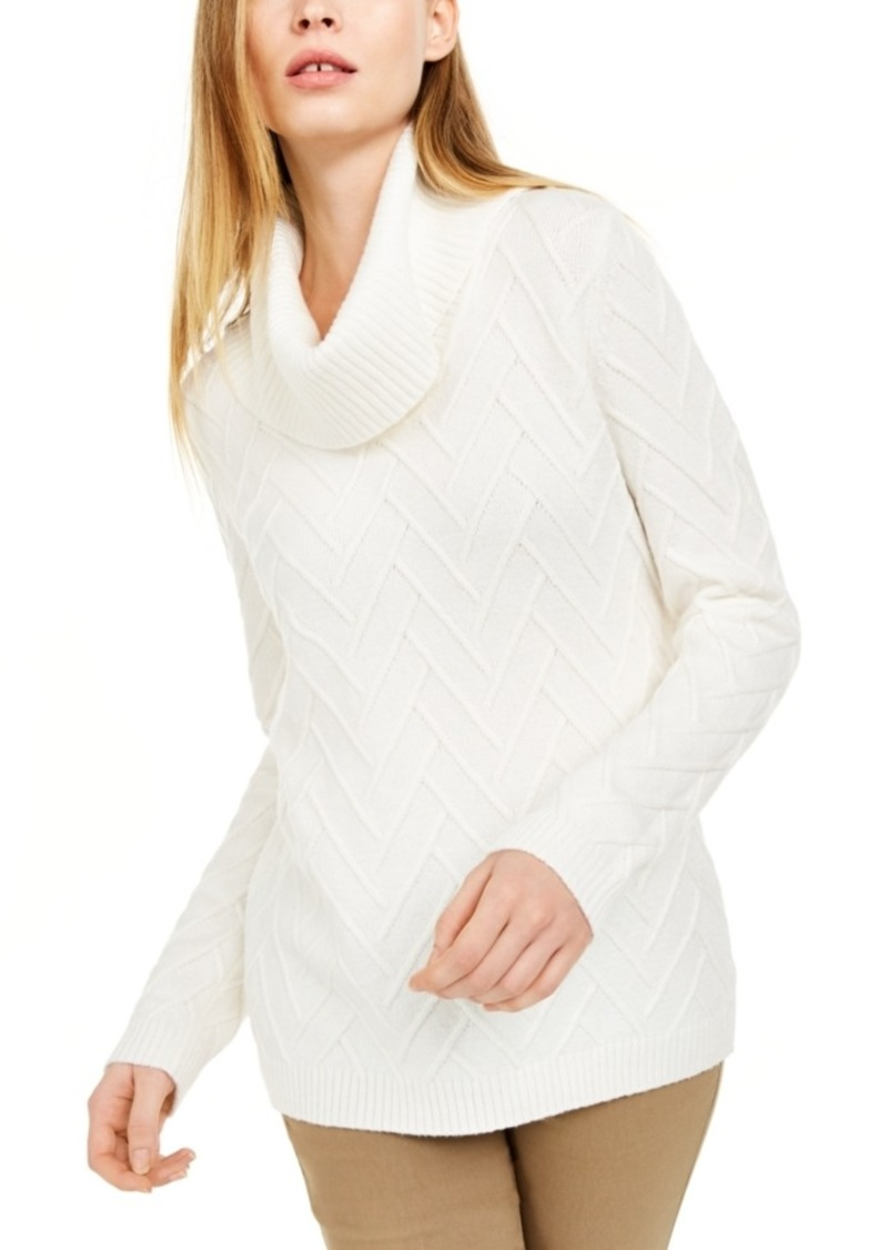 Calvin Klein Chevron-Stitch Cowlneck Sweater
