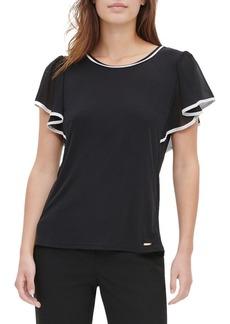 Calvin Klein Chiffon Flounce-Sleeve Top