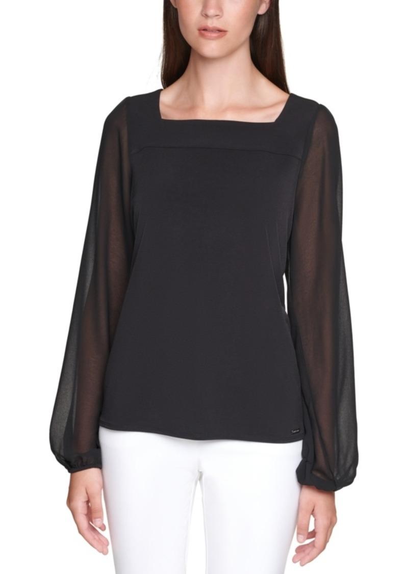 Calvin Klein Chiffon Long-Sleeve Top