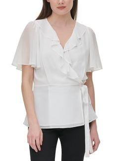 Calvin Klein Chiffon Ruffled Faux-Wrap Top
