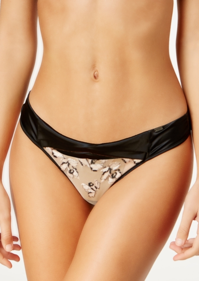 Calvin Klein Ck Black Collection Temptation Floral-Embroidered Thong QF1628