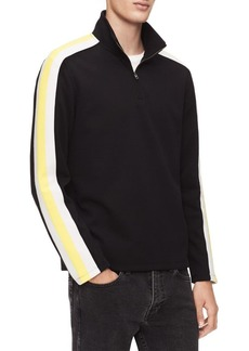 Calvin Klein Striped Quarter-Zip Mockneck Sweater