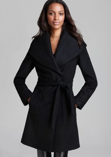 Calvin Klein Color-Blocked Wool-Blend Wrap Coat