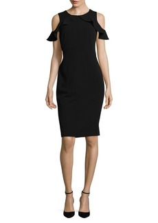 Calvin Klein Cold-Shoulder Crepe Sheath Dress