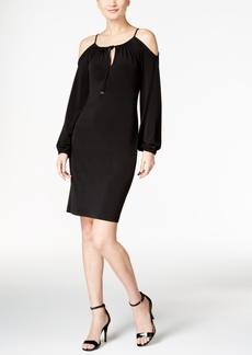 Calvin Klein Cold-Shoulder Keyhole Sheath Dress