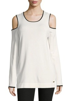 Calvin Klein Cold-Shoulder Piping Top