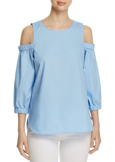 Calvin Klein Cold Shoulder Poplin Blouse