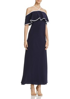 Calvin Klein Cold Shoulder Ruffle Maxi Dress