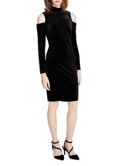 Calvin Klein Cold-Shoulder Velvet Dress