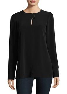 Calvin Klein Collarless Long-Sleeve Blouse
