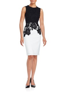 Calvin Klein Collection Crewneck Floral Lace Embroidered Dress