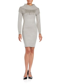 Calvin Klein Collection Fringed Long Sleeve Sheath Dress