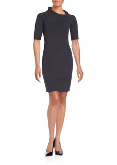 Calvin Klein Collection Knit Elbow-Length Sleeves Sheath Dress