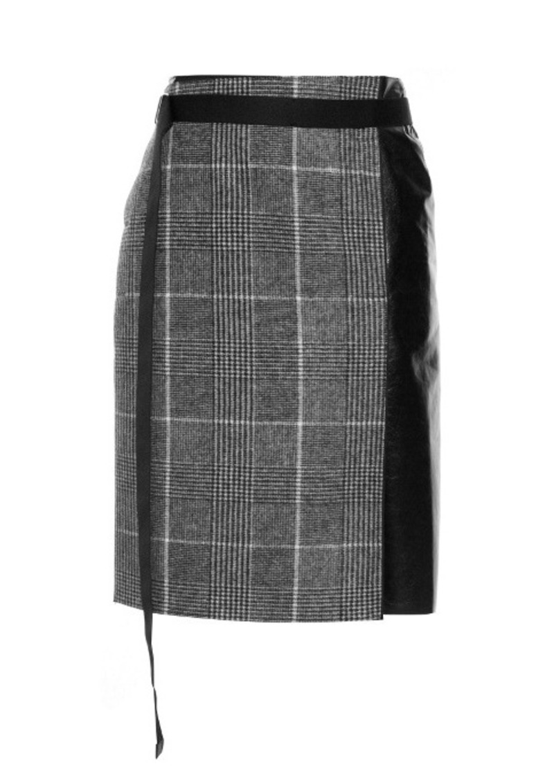 Calvin Klein Collection Leather-panel checked wool skirt