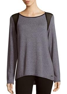 Calvin Klein Collection Mesh Panel Long Sleeve Top