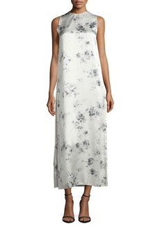 Calvin Klein Collection Sleeveless Floral Silk Midi Dress