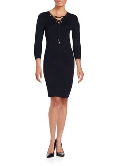 Calvin Klein Collection Solid Three-Quarter Sleeve Sheath Dress