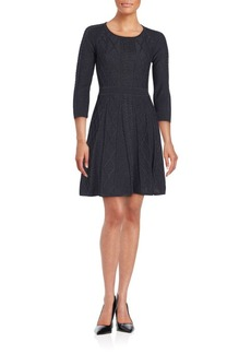 Calvin Klein Collection Textured Three-Quarter Sleeve Dress