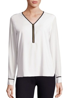 Calvin Klein Collection V-Neck Long Sleeve Top