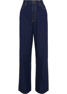 Calvin Klein Collection Woman High-rise Straight-leg Jeans Dark Denim