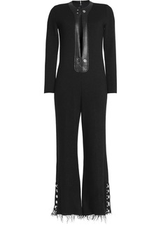 Calvin Klein Collection Woman Frayed Wool-blend Jumpsuit Black