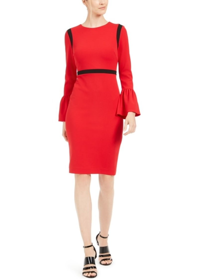 Calvin Klein Color-blocked Bell-Sleeve Sheath Dress