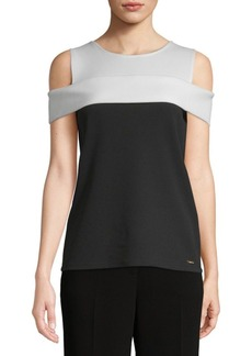 Calvin Klein Colorblock Cold Shoulder Top