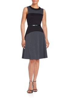 Calvin Klein Colorblock Fit-&-Flare Dress