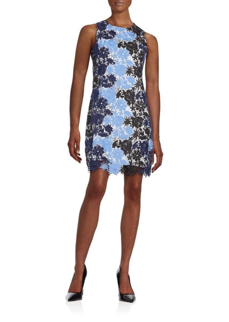 Calvin Klein Colorblock Floral Lace Shift Dress