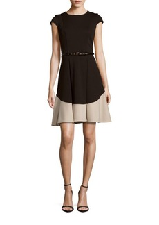 Calvin Klein Colorblock Jewelneck Dress
