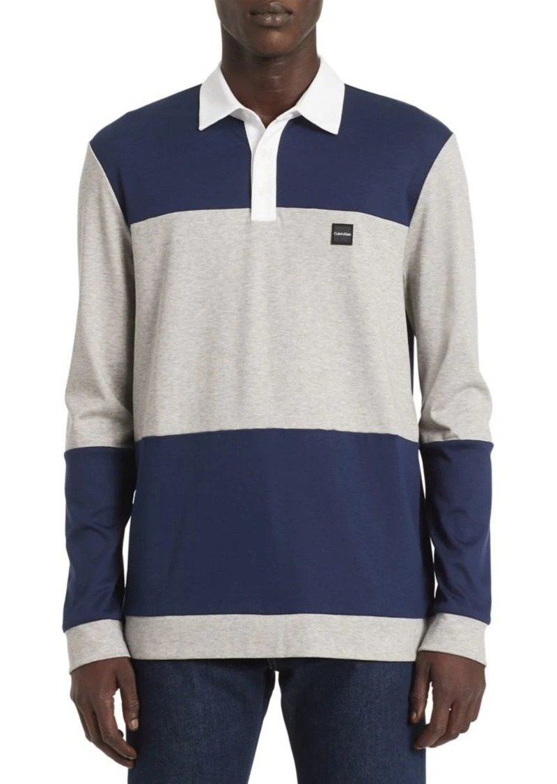 Calvin Klein Colorblock Long-Sleeve Cotton Polo