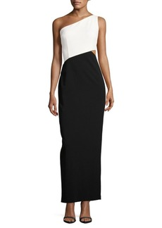 Calvin Klein Colorblock One Shoulder Gown