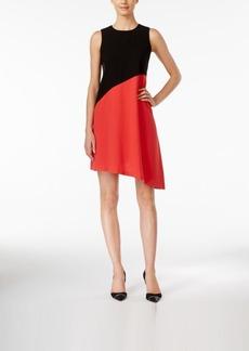 Calvin Klein Colorblocked Asymmetrical Shift Dress