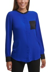 Calvin Klein Colorblocked Band-Collar Shirt