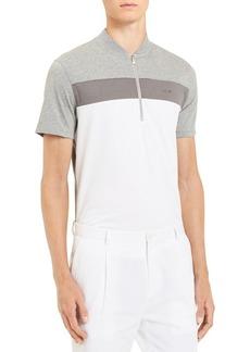 Calvin Klein Colorblocked Baseball Collar Short-Sleeve Liquid Jersey Cotton Polo
