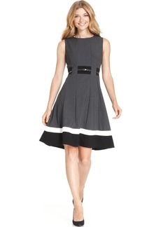 Calvin Klein Colorblocked Belted Fit & Flare Dress