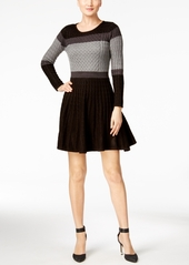 Calvin Klein Colorblocked Cable-Knit Sweater Dress
