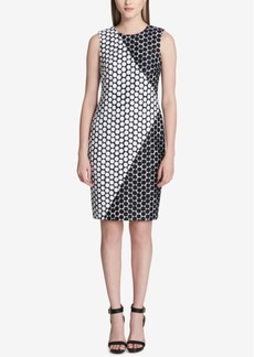 Calvin Klein Colorblocked Dot-Print Sheath Dress