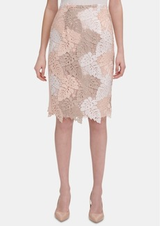 Calvin Klein Colorblocked Lace Pencil Skirt