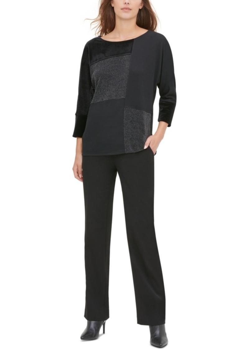 Calvin Klein Colorblocked Metallic Dolman-Sleeve Top