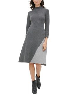 Calvin Klein Colorblocked Mock-Neck Dress
