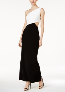 Calvin Klein Colorblocked One-Shoulder Gown
