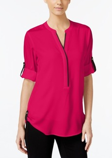 Calvin Klein Colorblocked Roll-Tab-Sleeve Shirt