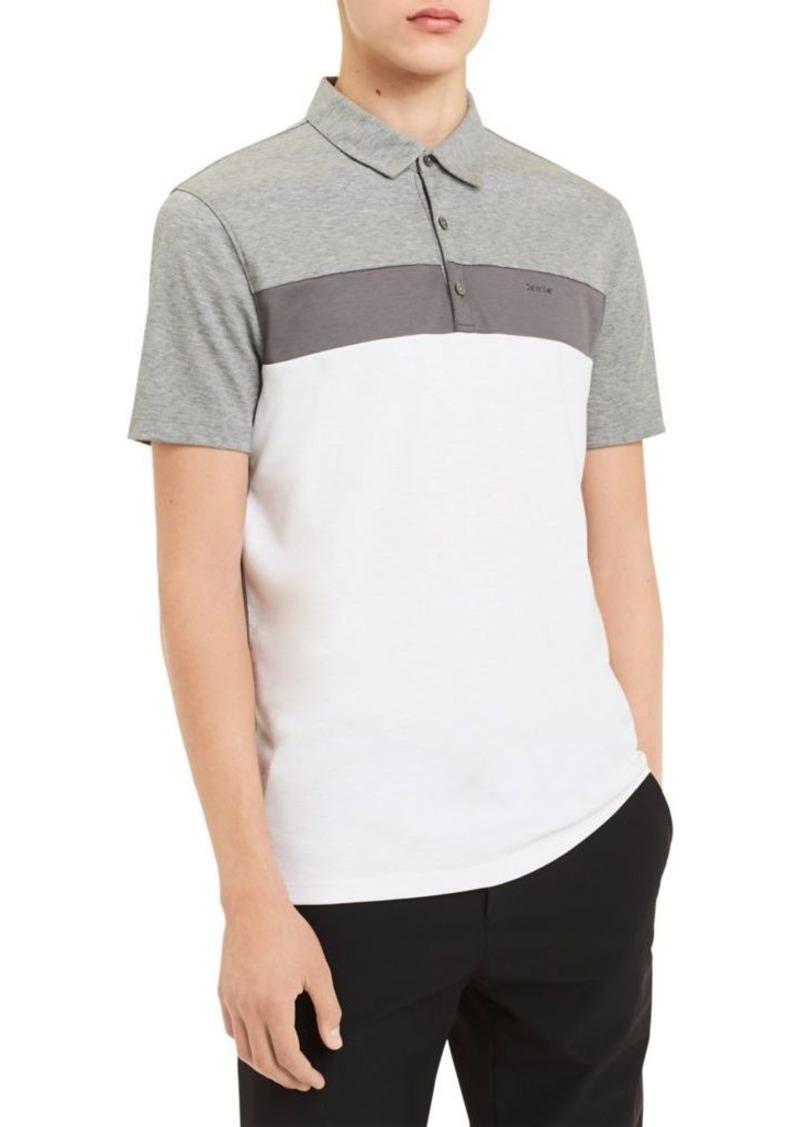 Calvin Klein Colorblocked Slub Interlock Short-Sleeve Cotton Polo