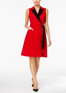 Calvin Klein Colorblocked Wrap Dress, Regular & Petite Sizes