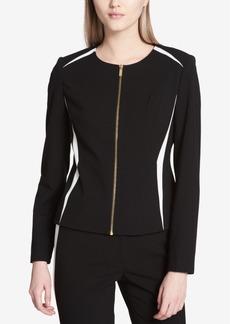 Calvin Klein Colorblocked Zip-Front Blazer