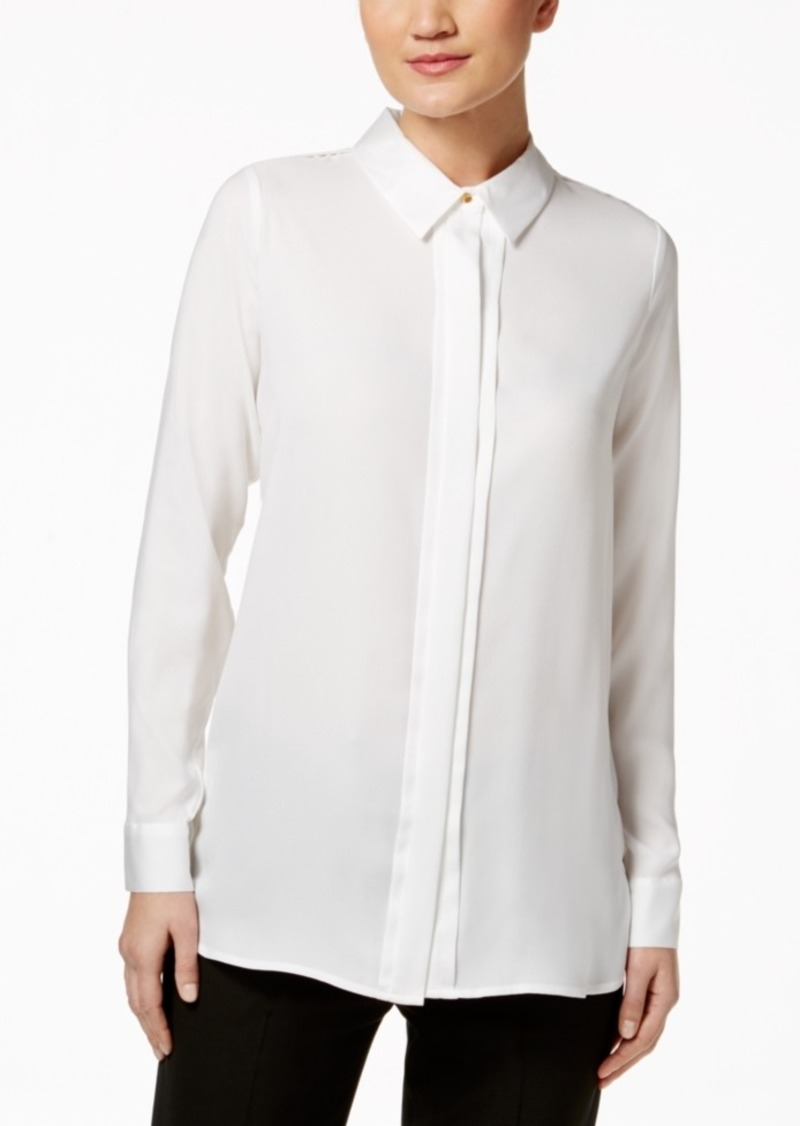 Calvin Klein Concealed Front-Button Blouse