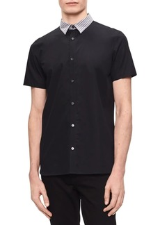 Calvin Klein Contrast-Collar Short-Sleeve Shirt