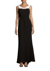 Calvin Klein Contrast Off-the-Shoulder Gown
